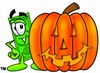 Cartoon Money Character Beside a Halloween Pumpkin clipart