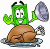 Cartoon Money Character Uncovering a Thanksgiving Turkey clipart