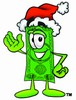 Cartoon Money Character Wearing a Santa Hat clipart