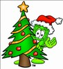 Cartoon Money Character Beside a Christmas Tree clipart