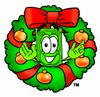 Cartoon Money Character in a Christmas Wreath clipart