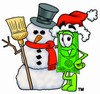 Cartoon Money Character Beside a Christmas Snowman clipart