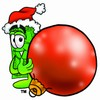 Cartoon Money Character Beside a Christmas Tree Ornament clipart
