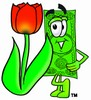 Cartoon Money Character Beside a Spring Tulip clipart