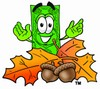 Cartoon Money Character with Fall Leaves and Acorns clipart