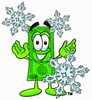 Cartoon Money Character with Snowflakes clipart