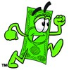 Cartoon Money Character Running clipart