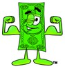 Cartoon Money Character Flexing and Winking clipart