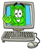 Cartoon Money Character Waving From a Computer Screen clipart