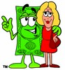Cartoon Money Character with a Businesswoman clipart