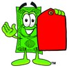 Cartoon Money Character Holding a Blank Price Tag clipart