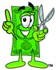 Cartoon Money Character Holding Scissors and Pointing Finger Up clipart