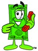 Cartoon Money Character Holding and Pointing to a Phone clipart
