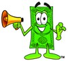 Cartoon Money Character Holding a Megaphone clipart