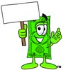 Cartoon Money Character Holding a Blank Sign clipart