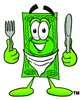 Cartoon Money Character Holding Silverware and Wearing a Bib clipart