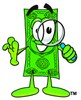 Cartoon Money Character Looking Through a Magnifying Glass clipart