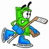 Cartoon Money Character Playing Hockey clipart