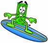 Cartoon Money Character Surfboarding clipart