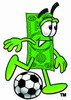 Cartoon Money Character Playing Soccer clipart