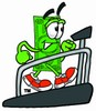 Cartoon Money Character Jogging on a Treadmill clipart
