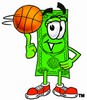 Cartoon Money Character Spinning a Basketball clipart