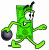 Cartoon Money Character Bowling clipart