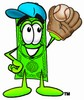 Cartoon Money Character Playing Baseball clipart