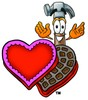 A heart-shaped candy box with a hammer clipart