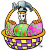 A hammer and easter eggs clipart