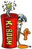 Hammer Cartoon Character Standing Behind a Stick of Dynamite clipart
