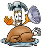 A hammer serving a roast turkey clipart