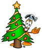 A hammer by a decorated tree clipart