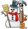 A hammer and snowman clipart