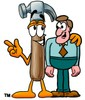 A hammer talking to a businessman clipart