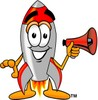 A rocket and megaphone clipart