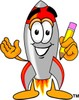 A rocket with a pencil in its hand clipart