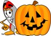 A rocket and carved pumpkin clipart