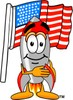 A rocket and an american flag clipart
