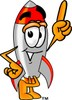 A rocket pointing its finger clipart