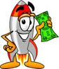 A rocket with a dollar bill clipart
