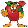 An apple holding a red rose clipart