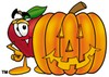 An apple and a halloween pumpking clipart