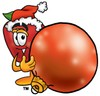 An apple and a christmas bauble clipart