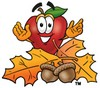 An apple with autumn leaves clipart