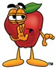 An apple with its hand at its mouth clipart