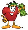 An apple holding money clipart