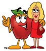 An apple talking to a woman clipart