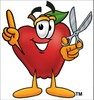 An apple holding scissors clipart