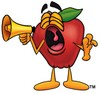 An apple shouting into a megaphone clipart